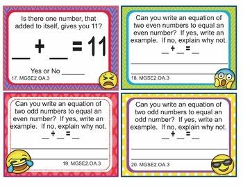 EMOJI 2nd Grade Math Problems Task Cards Odd Even - Georgia MGSE2.OA.3