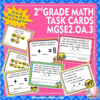 MGSE2.OA.3 Georgia - EMOJI 2nd Grade Math Problems Task Cards Odd Even