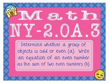 EMOJI 2nd Grade Math Problems Task Cards Odd Even - New York NY-2.OA.3