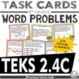 TEKS 2.4C Texas - EMOJI 2nd Grade Math Problems Task Cards Word Problems