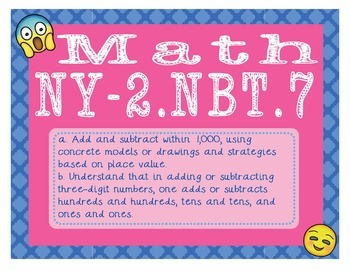EMOJI 2nd Grade Math Problems Task CardsAdd/Subtract to 1000-New York NY-2.NBT.7