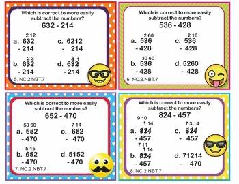 EMOJI 2nd Grade Math Task Cards Add/Sub to 1,000 - North Carolina NC.2.NBT.7