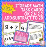 EMOJI 2nd Grade Math Task Cards-Fluency Add Subtract to 20- Oklahoma OK 2.N.2.2
