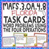 EMOJI 3rd Grade Math Problems Task Cards Flash Cards - Florida MAFS.3.OA.4.8
