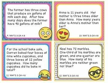 MAFS.3.OA.4.8 Florida - EMOJI 3rd Grade Math Word Problems Task Cards