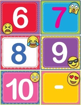EMOJI ABC 123 Number and Letter Cards Shelf Labels