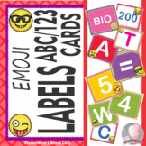 Classroom Labels Numbers and Letter Cards - Emoji Decor