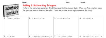 EMOJI - Adding & Subtracting Integers (Google Interactive & Hard Copy)