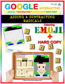 EMOJI - Adding & Subtracting Radicals (Google Interactive & Hard Copy)