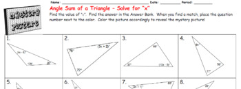 "EMOJI - Angle Sum of Triangle (Solve for ""x"")"