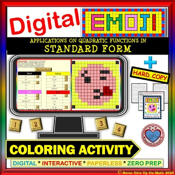 EMOJI - Applications: Quadratic Function in SF (Google Interactive & Hard Copy)