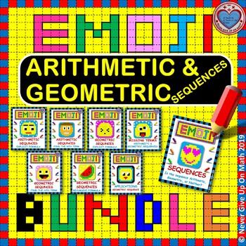 EMOJI - BUNDLE Arithmetic & Geometric Sequences (6 EMOJIS)