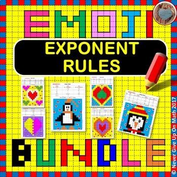 EMOJI - BUNDLE Properties of Exponents (6 EMOJIS = 72 Questions)