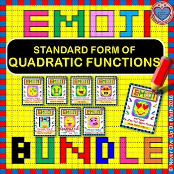EMOJI - BUNDLE Interpreting Standard Form Quadratic Functi