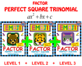 EMOJI - BUNDLE Factor Perfect Square Trinomial - 3 Levels (3 EMOJIS)