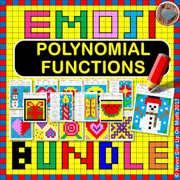 EMOJI - BUNDLE Polynomial Functions 50%+ OFF (9 EMOJIS = 104 Questions)