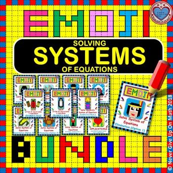EMOJI - BUNDLE Systems of Equations 50%+ OFF (10 EMOJIS)