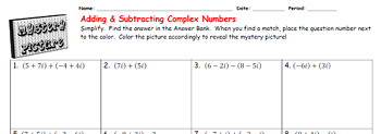 EMOJI - Complex Numbers: Add & Subtract (Google Interactive & Hard Copy)