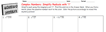 EMOJI - Complex Numbers: Simplifying Radicals i (Google Interactive & Hard Copy)