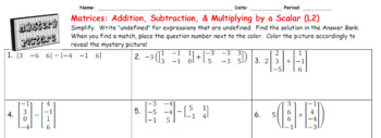 EMOJI - Determinant of a 2x2 Matrix (Google Interactive & Hard Copy)
