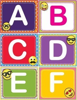 EMOJI Dolch First 1st Grade Sight Words Flash Cards, Letters and Numbers