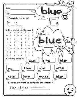 EMOJI Dolch Pre-Kindergarten PK Grade Sight Words Flash Cards Activities BUNDLE