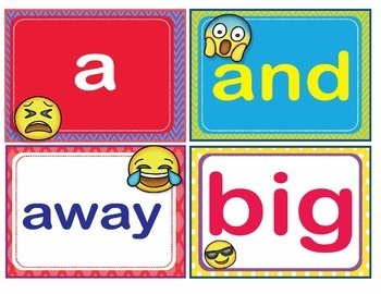 EMOJI Dolch Pre-Kindergarten Pre-K Grade Sight Words Flash Cards Letters Numbers
