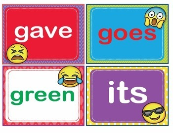 EMOJI Dolch Second 2nd Grade Sight Words Flash Cards, Letters and Numbers