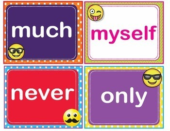EMOJI Dolch Third 3rd Grade Sight Words Flash Cards, Letters and Numbers