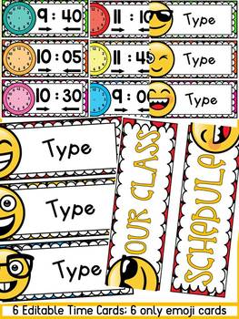 EMOJI (EDITABLE) SCHEDULE CARDS: CLASS DECOR