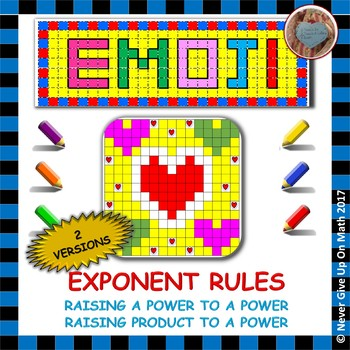 EMOJI - Exponent Rules - Raising Power to Power or Product to Power (2 Versions)