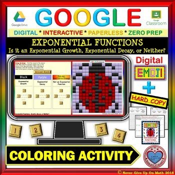 EMOJI - Exponential Functions: Growth or Decay (Google Interactive & Hard Copy)