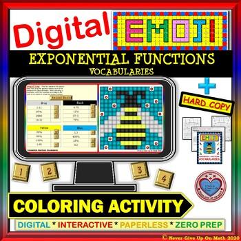 EMOJI - Exponential Functions Vocabularies (Google & Hard Copy)