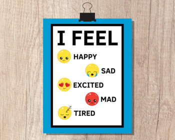 EMOJI FEELINGS POSTER | Feelings Poster I Feel Happy Sad Mad Excited Tired