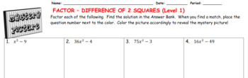 EMOJI - Factor: Difference of Two Squares L1 (Google Interactive & Hard Copy)