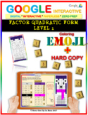 EMOJI - Factor Quadratic Form (EASIEST) (Google Interactive & Hard Copy)