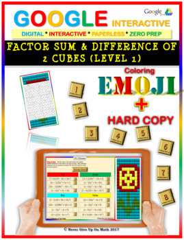 EMOJI - Factor Sum & Difference of 2 Cubes (Google Interactive & Hard Copy)