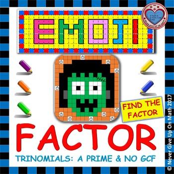 "EMOJI - Factoring - Factor Trinomials where ""a""PRIME (NO GCF) - Challenging"