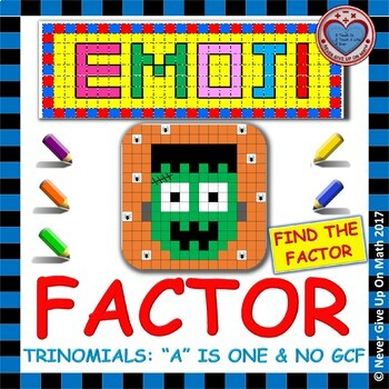"EMOJI - Factoring - Factor Trinomials where ""a"" is 1 (NO GCF) - Challenging"