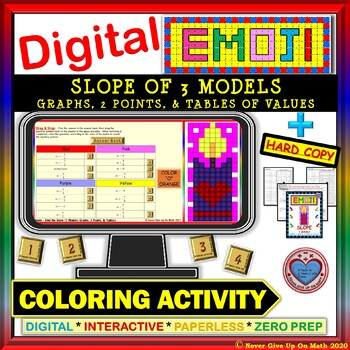 EMOJI - Find Slope 3 Models (Google Interactive & Hard Copy)