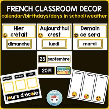 French calendar set | birthdays | days in school EMOJI | Le calendrier