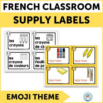 French supply labels EMOJI   Étiquettes pour la classe