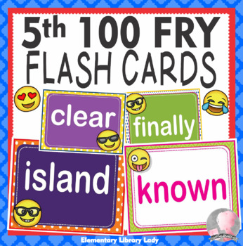 EMOJI Fry Fifth 5th 100 Sight Words Flash Cards, Letters and Numbers