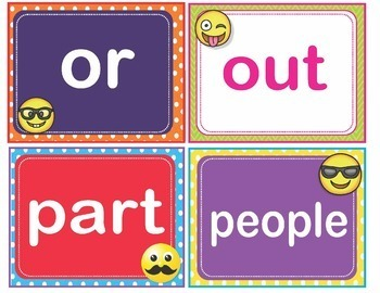 EMOJI Fry First 1st 100 Sight Words Flash Cards, Letters and Numbers