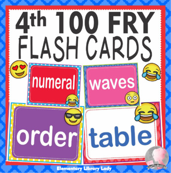 EMOJI Fry Fourth 4th 100 Sight Words Flash Cards, Letters and Numbers