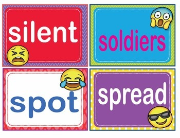 EMOJI Fry Ninth 9th 100 Sight Words Flash Cards, Letters and Numbers