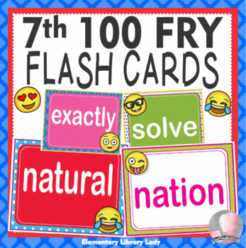 EMOJI Fry Seventh 7th 100 Sight Words Flash Cards, Letters and Numbers