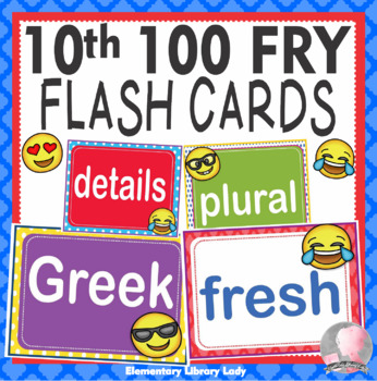 EMOJI Fry Tenth 10th 100 Sight Words Flash Cards, Letters and Numbers