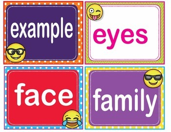 EMOJI Fry Third 3rd 100 Sight Words Flash Cards, Letters and Numbers
