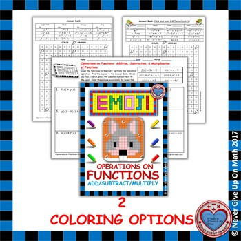 EMOJI -Find the Function Rule: Addding, Subtracting, & Multiplying Functions